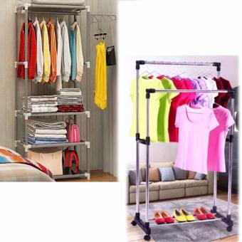 CJY-001 Creative Simple CoatRack Wardrobe (Gray) with Double PoleStainless Steel Clothes Rack