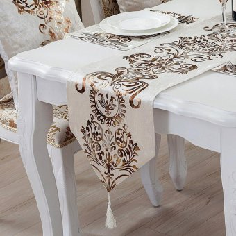 Classic Modern Cotton Linen Table Table Runner color:#2size:33*250cm - intl - 2