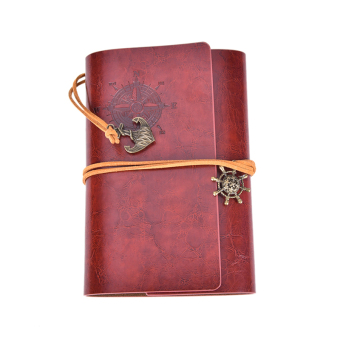 Classic Retro Notebook Journal Diary Sketchbook Leather Cover ThickBlank Pages Red Brown - intl