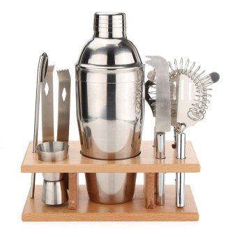 Cocktail Sets Shakers Bar Mixer Stainless Steel Kit Drink Silver 8 pieces - intl
