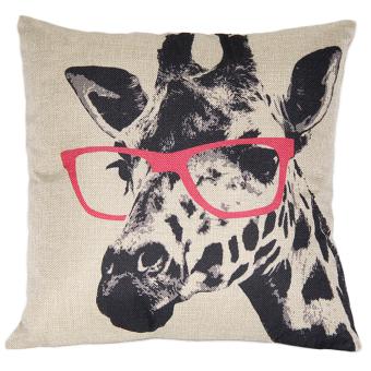 Cocotina Decorative Giraffe Pink Glasses Throw Pillow Cover (Cream)