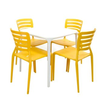 Cofta Tulip Table Set 4 (Yellow/White)