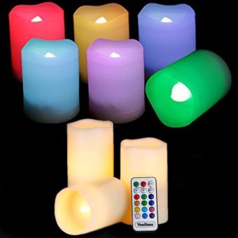 Color Changing LED Outdoor Battery Candles with Remote Control Set