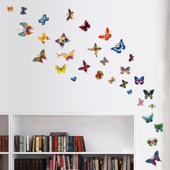 Colorful Butterflies Wall Decal PVC Home Sticker House Vinyl PaperDecoration WallPaper Living Room Bedroom Kitchen Art Picture DIYMurals Girls Boys kids Nursery Baby Playroom Decor (Intl)