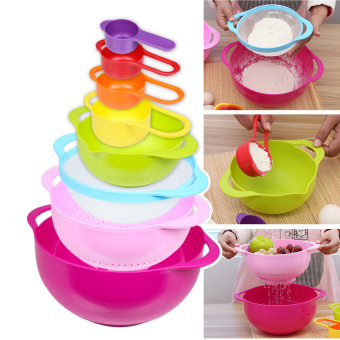 Colorful Nested Measuring Mixing Rainbow Bowls Cups Spoons (8Pcs ASet) - Intl (Intl)