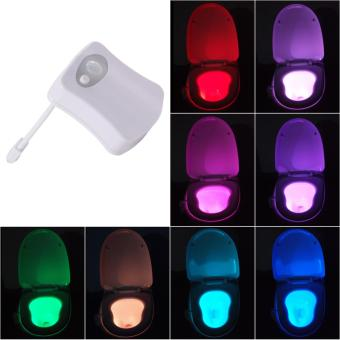 Colorful Sensor Motion Activated LED Toilet Lightbowl Sensing NightLamp - intl