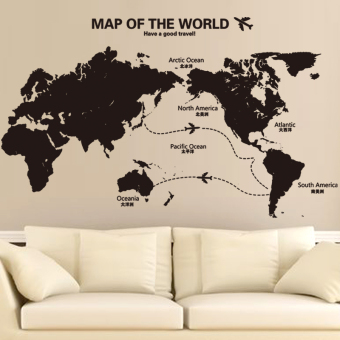 Cool library office culture world map wall adhesive paper