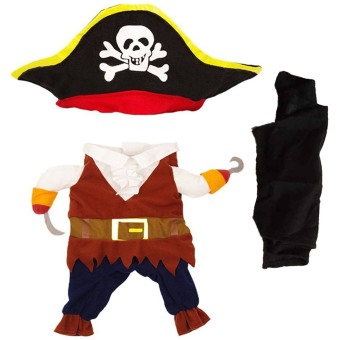 Cool Pirate Style Pet Clothes Dress with Hat for Puppy Dog CatClothing Halloween Cosplay Party Apparel Costume Size S - intl