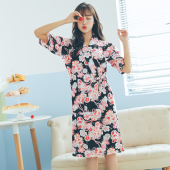 Cotton Female Summer short sleeved bathrobe kimono pajamas