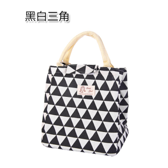Cotton linen portable insulated lunch bag container bag