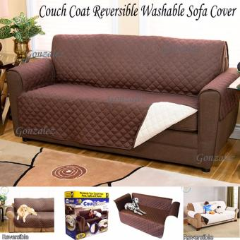 Couch Coat Reversible Washable Sofa Cover (Brown-Beige)