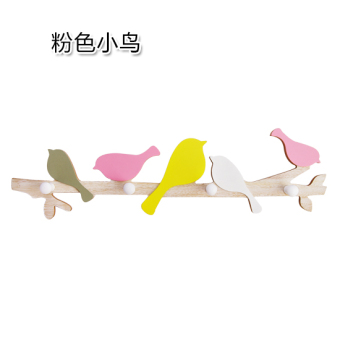 Country wood wall key clothes hook bird adhesive hook