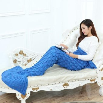 Creative Fish Scales Style Knitted Mermaid Tail Blanket SleepingBag for Adult Kids Royal Blue 140*70cm - intl