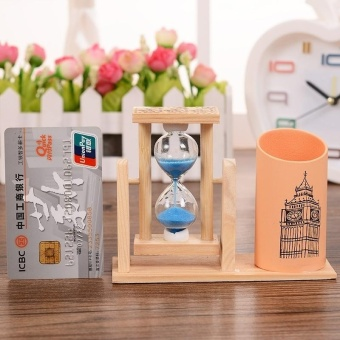 Creative Gifts Wooden Hourglass Pen Container Timer SchoolStationery Office Supplies, Random Color Delivery - intl - 4