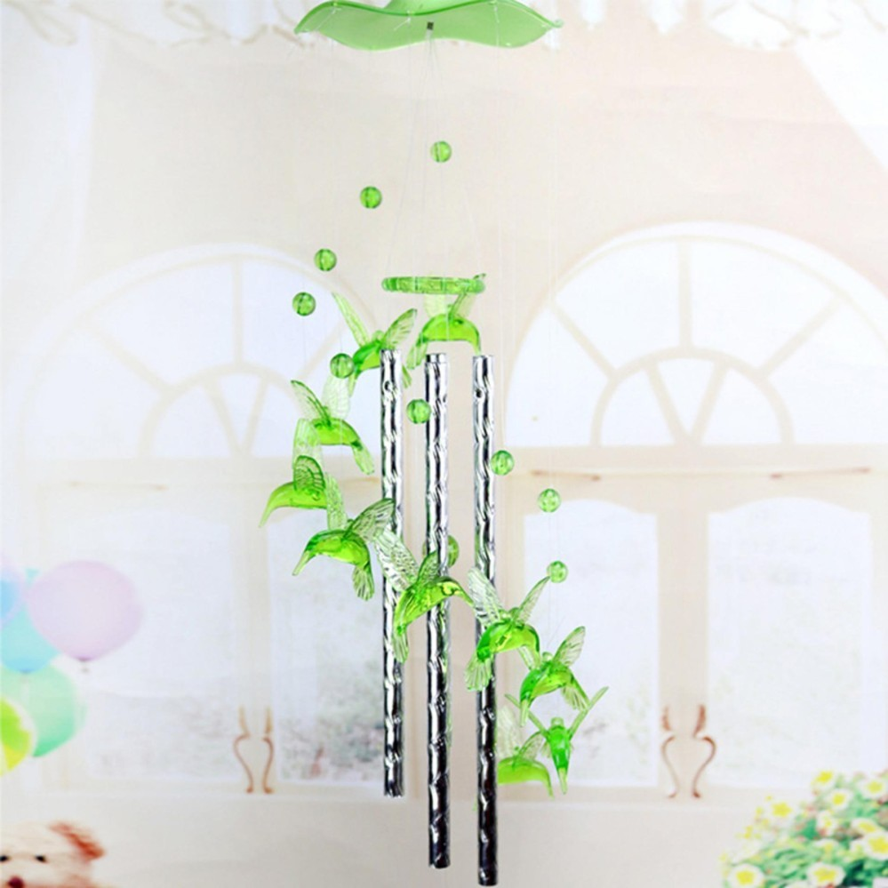 Heart Plastic Crystal 4 Metal Tubes Wind chime Dophin Home Garden ...