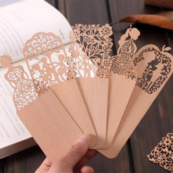 Creative Vintage Hollow out Sided Carving Ultra Thin WoodenBookmark 5Pieces - intl