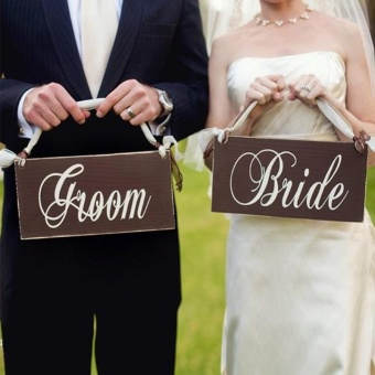 Creative Wooden Groom & Bride Wedding Chair Banner Set ChairSign Vintage Wedding Party Decoration Shooting Props -intl