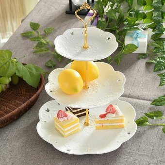 Crown Cake Cupcake Plate Stand Handle Party Wedding Dessert Fruit3Gold - intl