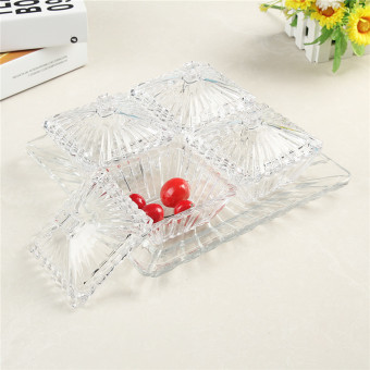 Crystal Glass snack seperated candy jar dried fruit bowl