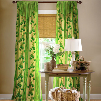 Curtain Essentials Lotus Yellow Green Single Panel