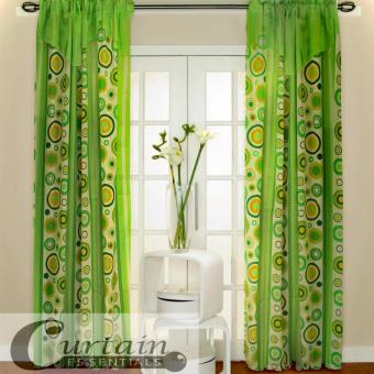 Curtain Essentials Pete Yellow Green Set of 2