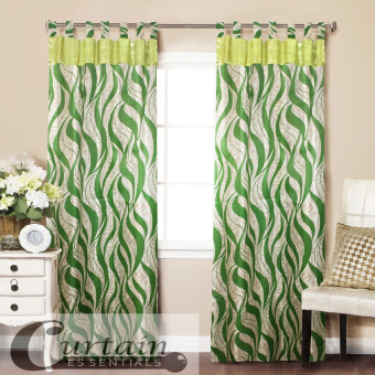 Curtain Essentials Trival Ornate Green Single Panel