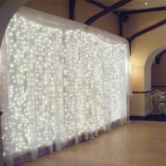 Curtain LED String White Lights 3M X3M for Xmas Wedding Party Decor 220V EU Plug - intl