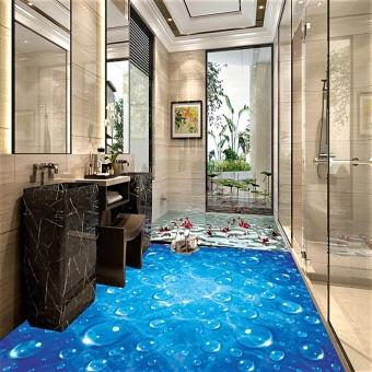 Custom Waterproof Wallpaper For Bathroom Blue Wave Water Droplets3D PVC  Wear Non Slip Wall Paper