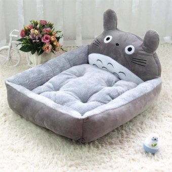 Cute Animal Cat Dog Pet Beds Mats Teddy Pet Dog Sofa Pet Cat Bed House Big Blanket Cushion Basket Supplies 6(L_grey_ Totoro) - intl
