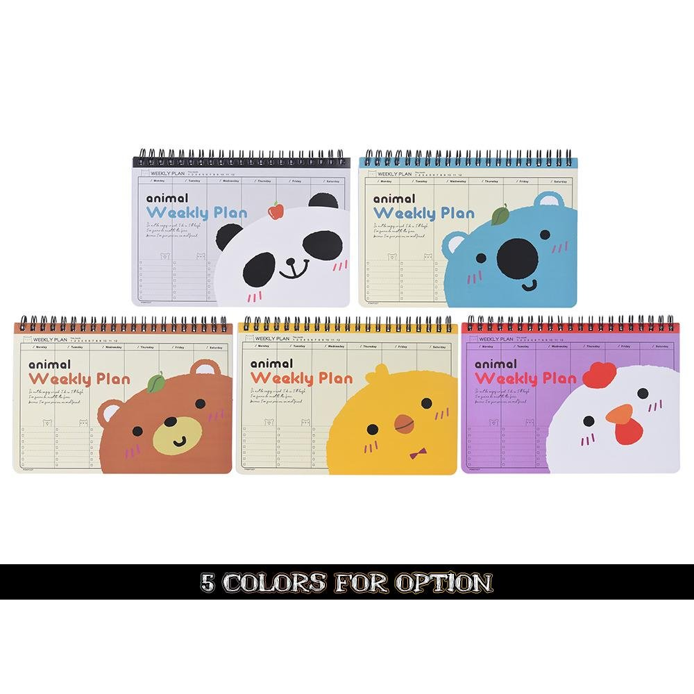 ... Cute Animal Coil Weekly Planner Plan Agenda Schedule Travel Journal Diary Notepad Notebook White Chick ...