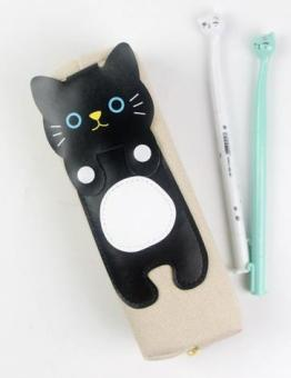 Cute canvas black and white cat pencil case