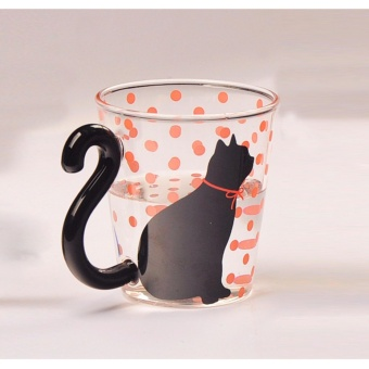 Cute Creative Cat Kitty Glass Mug Cup Tea Cup Milk Coffee CupMusic(Red Dots ) - intl Price Philippines