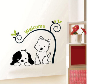 Cute dog animal Home Decorative adhesive paper wall stickers