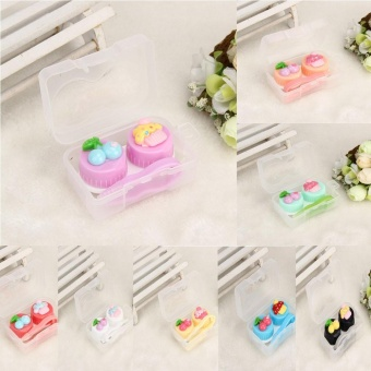 Cute Food Shape Travel Portable Contact Lens Lenses Container CaseOrange - intl