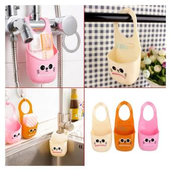 Cute Kitchen Sink Sponge Holder Bathroom Hang Strainer Storage Organizer Rack Orange - intl
