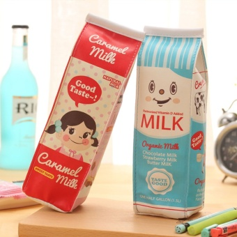 Cute PU Pencil Case Creative Milk Pencil Bag For Kids Gift Novelty Item School Supplies Stationery - intl