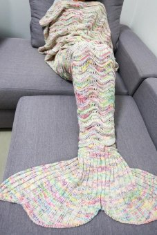 Cyber Adult Handmade Knitted Crochet Mermaid Tail Shape Blanket/ Sleeping Sofa Blanket ( Multicolor ) - intl