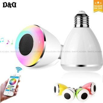 D&D BL08A Bluetooth Smart LED Color Changing Light Lamp Bulb With Speaker(WHITE)
