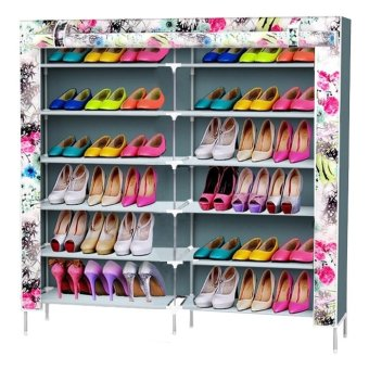 D&D High Quality Double Capacity 6 Layer Shoe Rack Shoe Cabinet(Cyan) Price Philippines