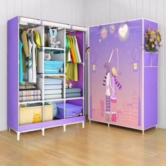 D&D Quality Fashion 3D Panoramic View Simple Wardrobe(Violet)