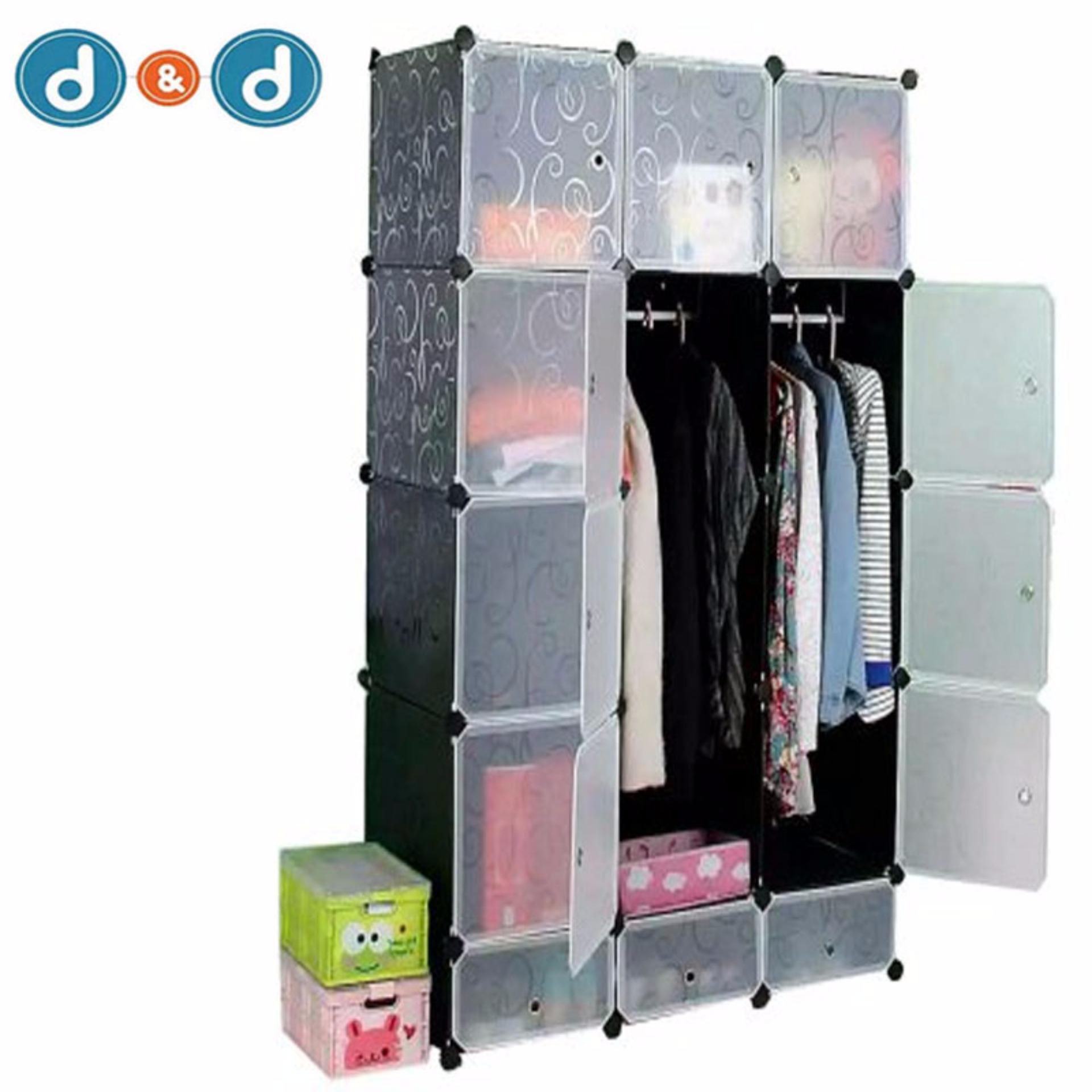 D&D Tupper Cabinet 12 Cubes Full Black DIY Wardrobe | Lazada PH