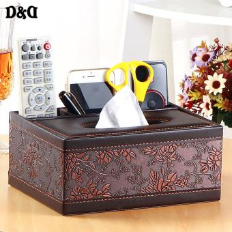 D&D YPS-01 Multifunctional Tissue Box Leather Remote ControllerStorage Box Livingroom Napkin Paper Towel Holder Dispenser CoverCases(BROWN)