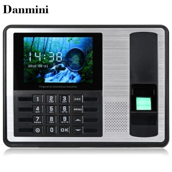 Danmini A7 - T Biometric Fingerprint Time Attendance Clock UK Plug(Black) - intl