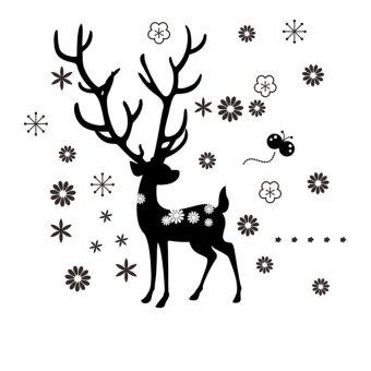Deer Snowflake Flower Christmas Vinyl Wall Sticker Decals Decor Home Living Waterproof Fashion Removable - Intl