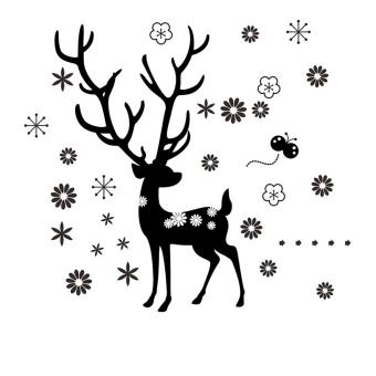 Deer Snowflake Flower Christmas Vinyl Wall Sticker Decals Decor Home Living Waterproof Fashion Removable (Intl)