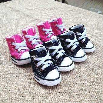 Denim 4 Pcs Puppy Pet Dog Denim Shoes Anti-slip color:Pink size:M - intl