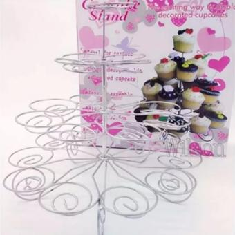 Detachable 4 Layers Iron Cake Stand 13 Cupcake Holder Cup TrayTable Decoration - 3