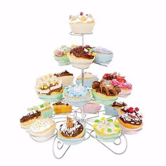 Detachable 4 Layers Iron Cake Stand 13 Cupcake Holder Cup TrayTable Decoration