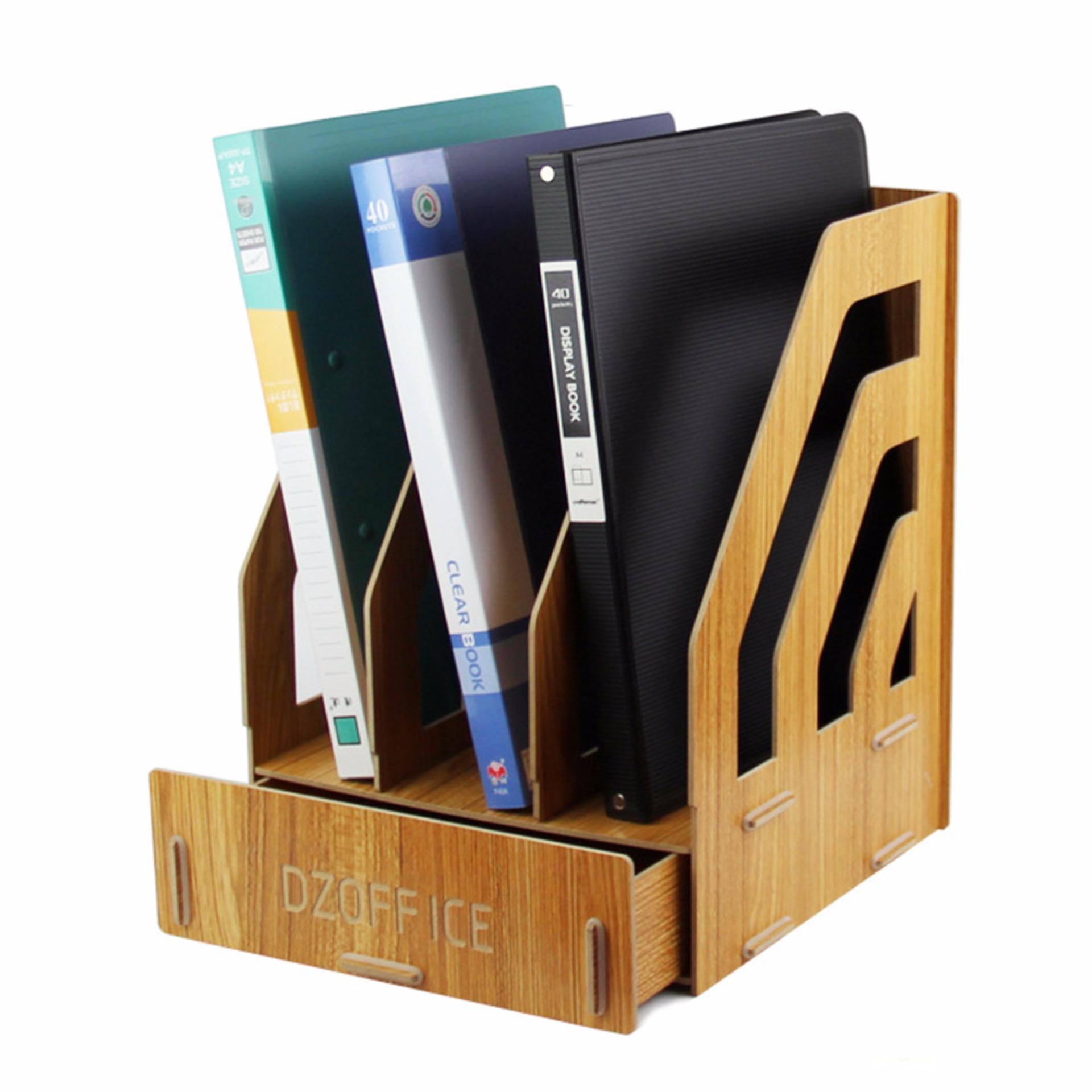 Detachable Wooden Grain Design Office Desk A4 File Rack Desktop Diyorganizer Shelf Book Storage Box