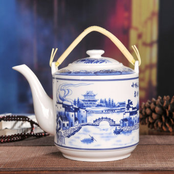 Di wins large blue and white mention beam pot ceramic teapot